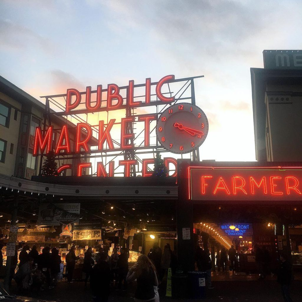 Neon lights  golden hour seattle pikeplacemarket pikeplace pnw