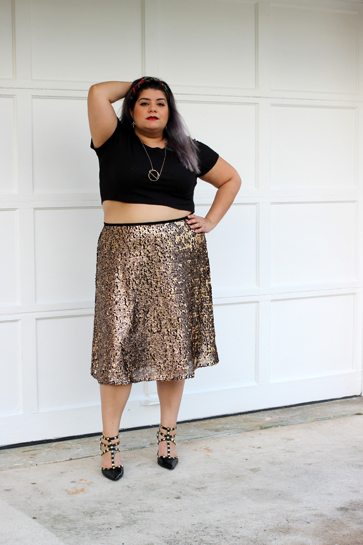 3 Ways to Wear a Gold Sequin Skirt