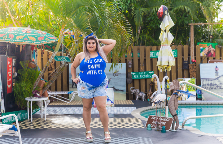 plus size blue swim suit