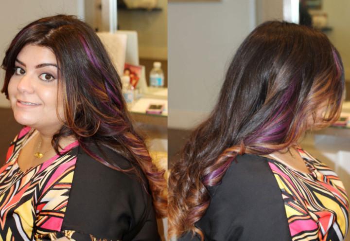 Purple hair by Salon Sora, Boca Raton.