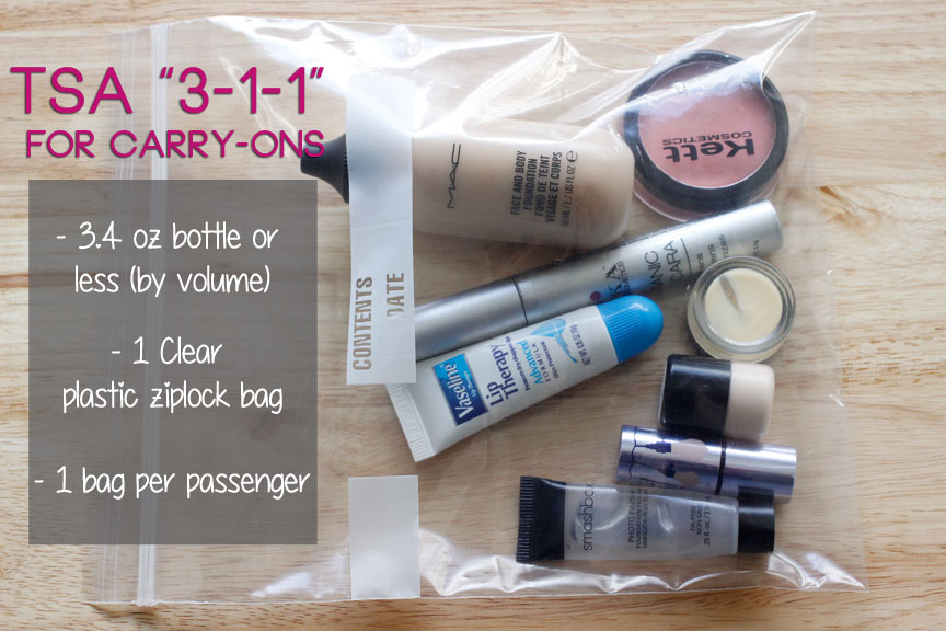 How to pack an air travel makeup bag