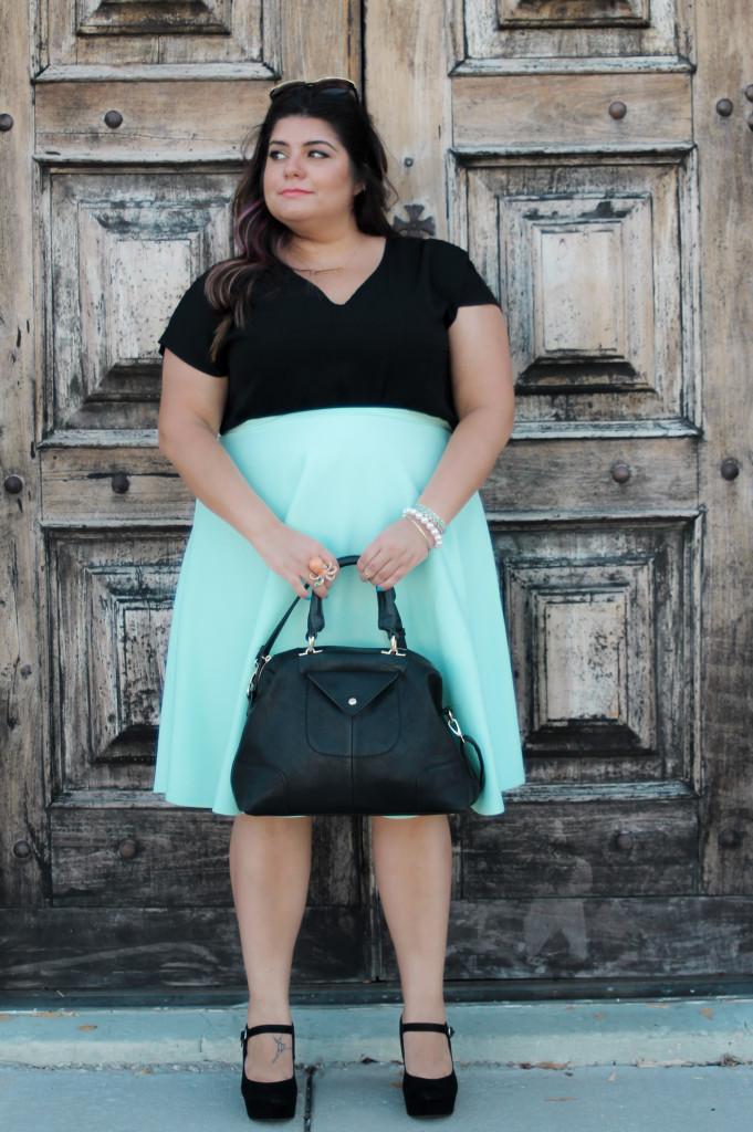 Asos Mint Midi Skirt and TJmaxx Satchel