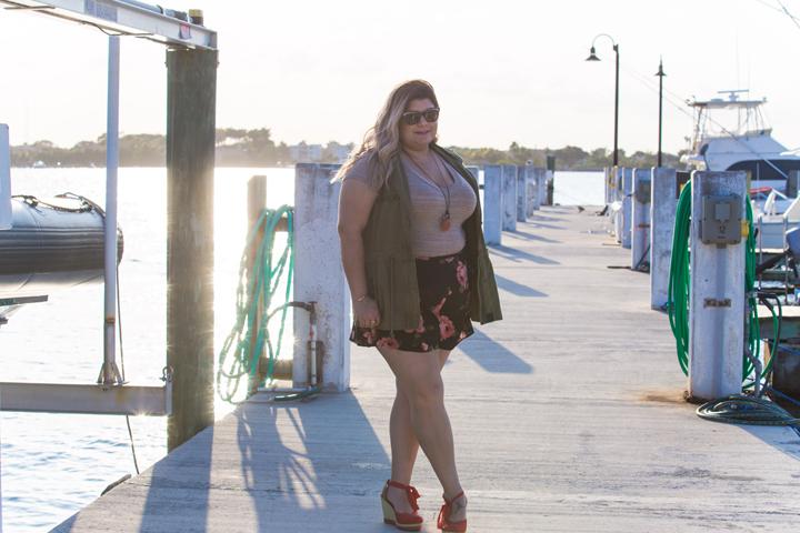 miltary vest + floral shorts