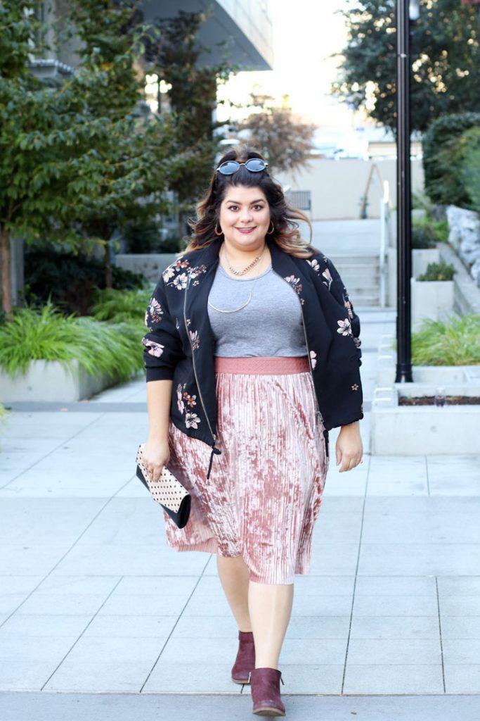 pink velvet midi skirt
